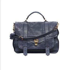 Proenza Schouler PS1 Large Satchel Bag- Navy/Gold